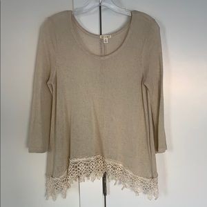 Francesca's Crochet Detail Top Sz S